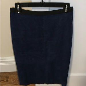 BCBG suede navy blue length pencil skirt